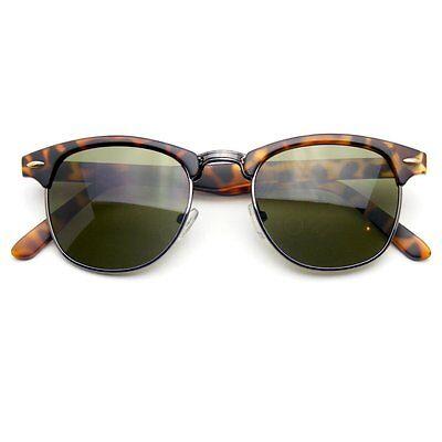Clubmaster Sunglasses Men's Women's Half Frame Vintage Designer Metal
