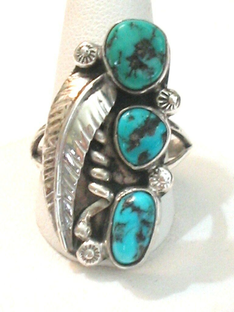 Sterling Turquoise Coral Shadow Box Glenn Irene Sandoval 40mm Ring Sz 6.5