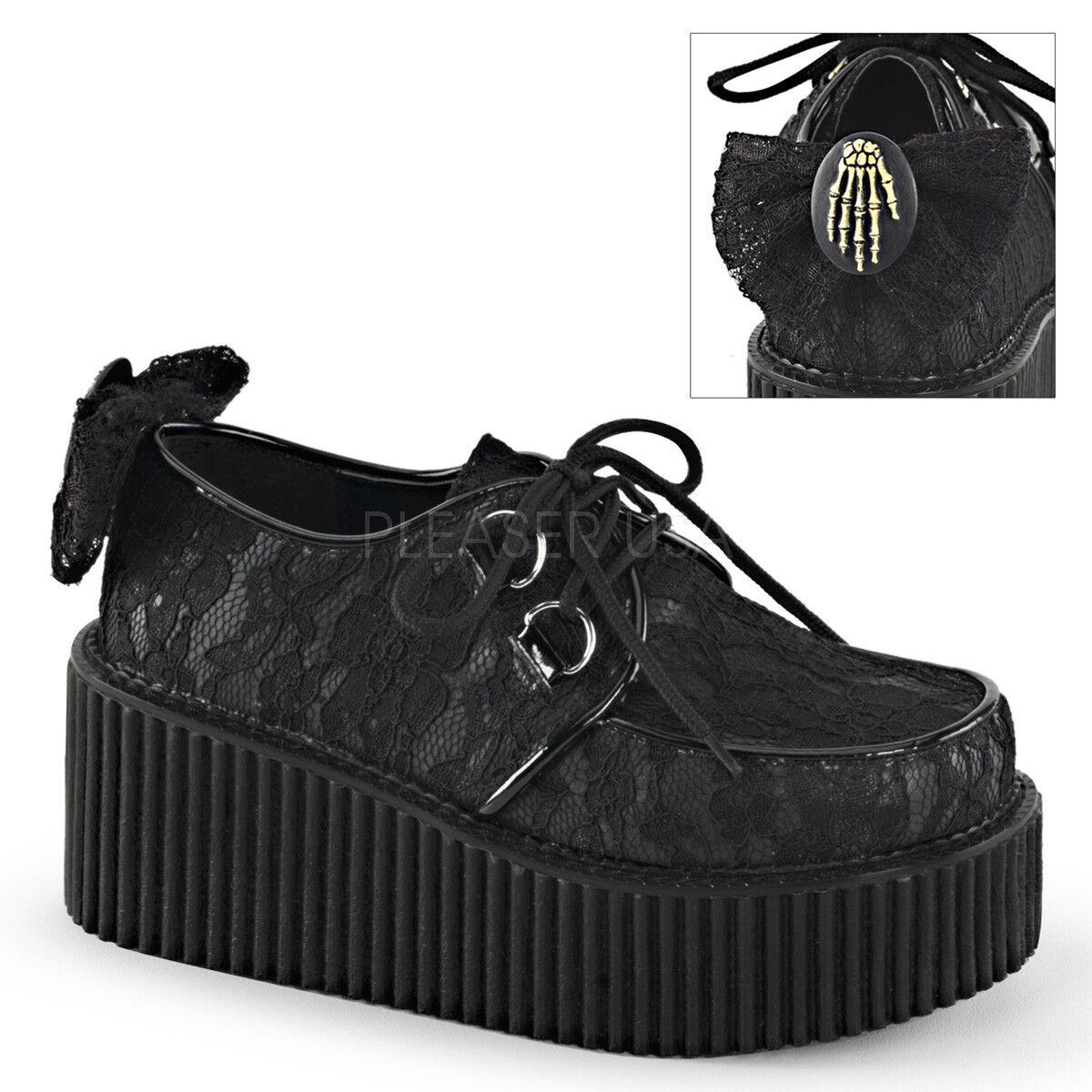 scegli il tuo preferito Demonia CREEPER-212 nero Platform Platform Platform Lace-Overlay Bow Skeleton Hand Mesh scarpe  prodotto di qualità
