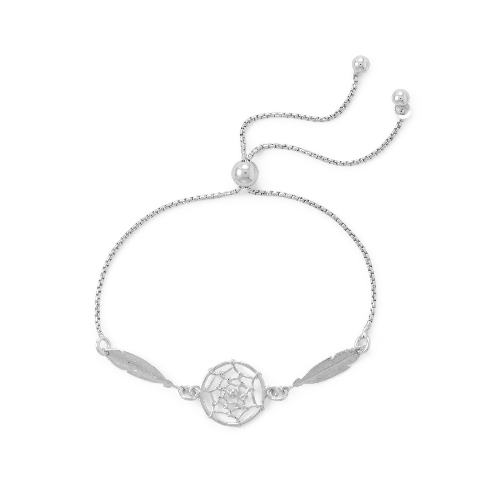 Rhodium Plated Dream Catcher Bolo Bracelet