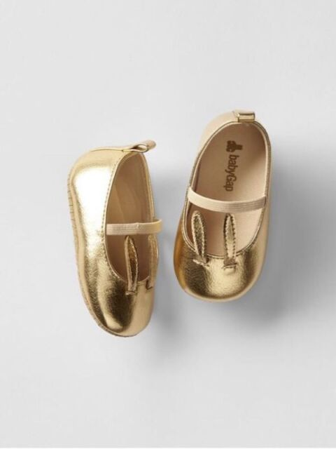b3a1bc414baec Gap Baby Girls Size 0-3 Months Metallic Gold Mary Jane Bunny Easter Shoes