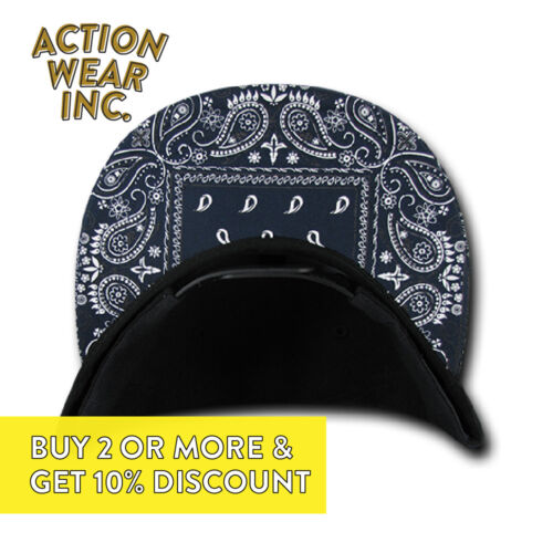DECKY MENS PAISLEY BANDANA HAT BASEBALL SNAPBACK HATS CASUAL RETRO FLAT BILL CAP