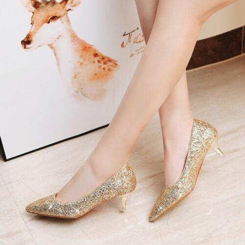 Fashion Women/'s Sequins Kitten Heels Pointed Pumps Wedding Bridal Shoes Slip On