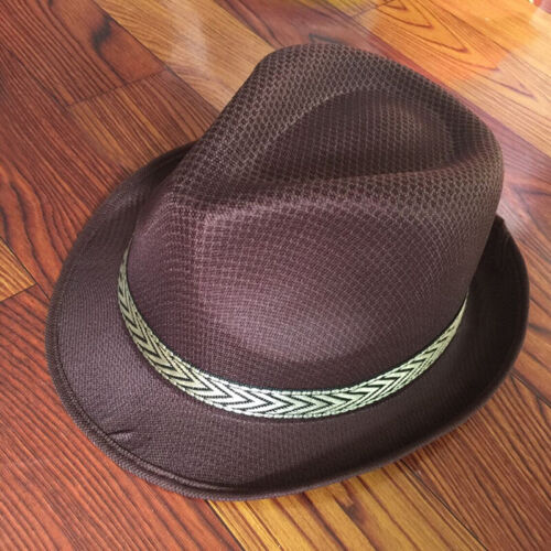 Unisex Men Women Hat Fedora Trilby Wide Brim Straw Cap Summer Beach Sun Panama