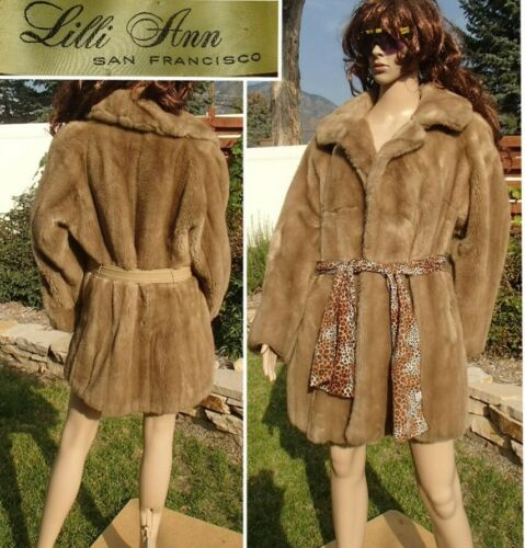 vtg 60's LILLI ANN faux fur belted jacket USA MADE