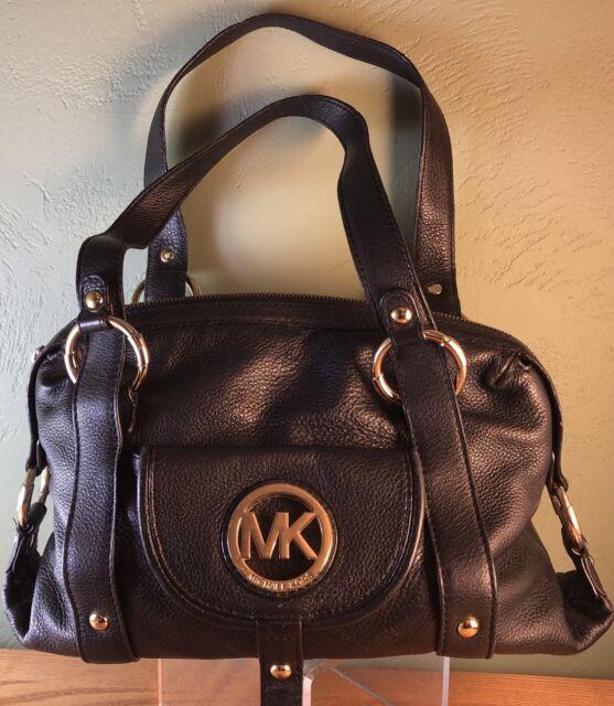 Michael Kors Fulton Large Leather Satchel Black Handbag 38s1cfts3l
