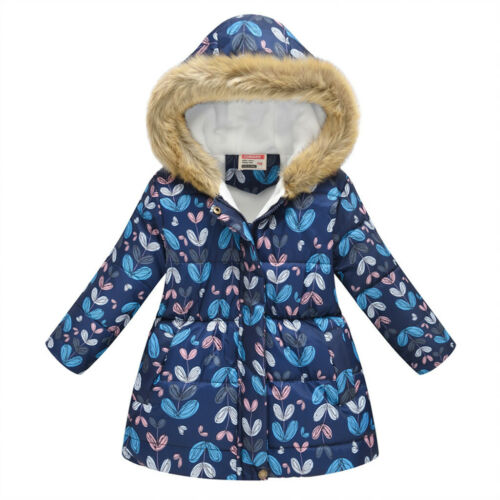 Toddler Baby Girls Boys Winter Floral Thick Warm Jacket Hooded Windproof Coat
