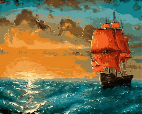DIY Paint By Number Kit Acrylic Linen Paint Oil Painting Ship Wall Decor Scenery