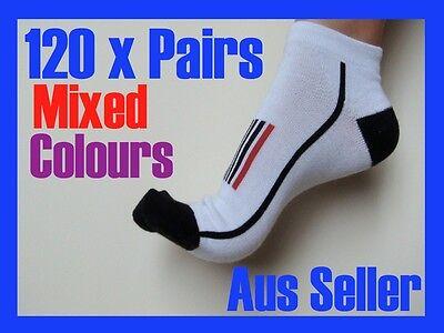 Wholesale 120 pairs womens cotton blend ankle sport socks sz 2-8