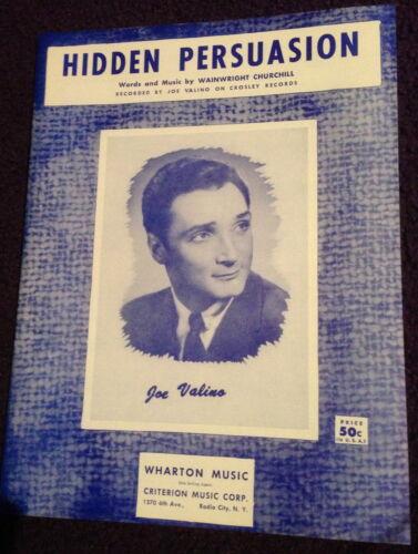 1959 50/'s POP VOCALS JOE VALINO Sheet Music HIDDEN PERSUASION Criterion Publ