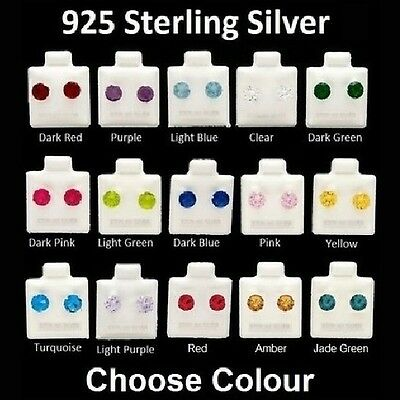 Sterling Silver Various Coloured Stud Earrings -3mm 4mm 5mm 6mm 7mm - BOXED