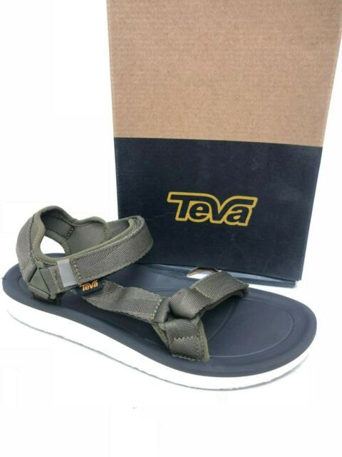 Teva Mens Original Universal Premier Leather Walking Shoes Sandals Green Sports