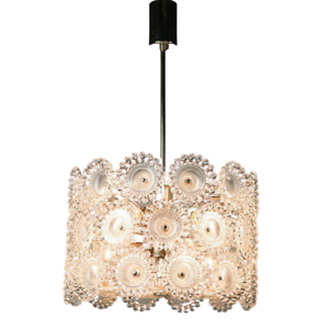 Soelken-Pendel-Leuchte-Pusteblume-Haenge-Lampe-Acryl-amp-Chrom-Design-Vintage-70er