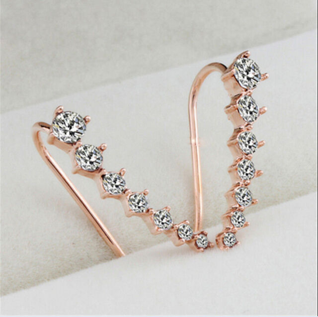 2Pairs Silver/Rose Gold Women Crystal Sweet Hoop Stud Earrings Ear Hook Jewelry