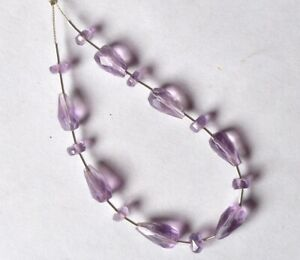 Faceted AMETHYST RONDELLE (4.5-5mm) / Topdrill DROP (9-10mm long) Beads 73-18
