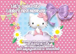 10 X Hello Kitty Personnalise Enfants Anniversaire Invitations Thank You Cartes Ebay
