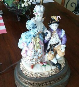 LARGE Antique/ Vintage Capodimonte Figural Table Lamp  Porcelain Sculpture