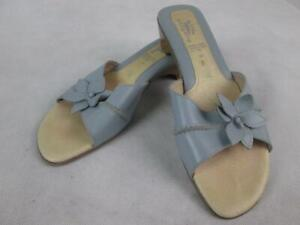 SPRING-STEP-FLORAL-BLUE-GRAY-STACKED-BLOCK-HEEL-SLIDE-SANDALS-ITALY-WOMENS-8-EUC