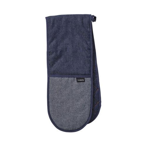 Ladelle Denim Blue Double Oven Glove Mitt Gauntlet Pot Holder Heat Resistant