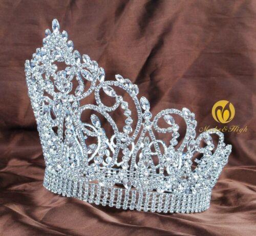 """Gros 7/"""" Full Round Crown Pageant Tiara Cristaux Mariée Bandeau de Bal Art Déco"""
