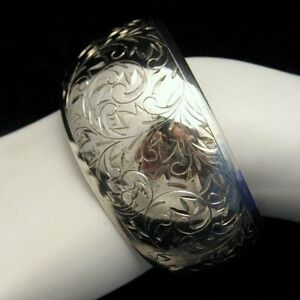 Signed-SILVER-Vintage-Extra-Wide-Cuff-Bangle-Bracelet-Engaved-Flowers-Sterling