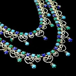 Vintage JULIANA D&E Blue Green Rhinestone Dangle Necklace Gold Tone Filigree