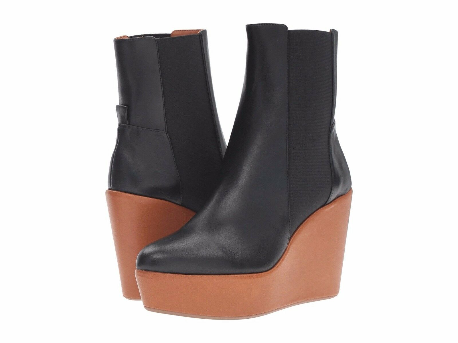 Derek Lam 10 Crosby Sandy Too Wedge Leather Ankle Bootie Boot Black 395 NEW