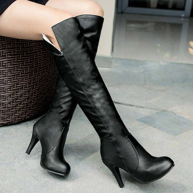 Women Warm High Heel Knee High Boot Solid Pull On Round Toes Winter shoes Slim