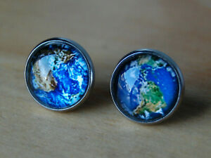 Planet Earth Stud Button Earrings,Silver,World,Earth Day,Nature,Activism,jewelry