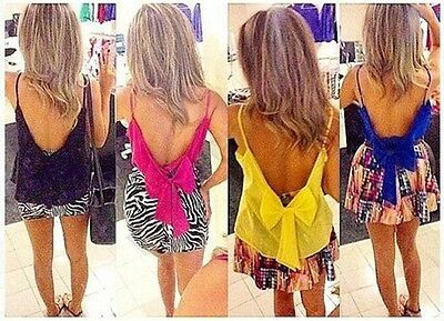 Sexy Women Backless Bow Tank Shirts Sexy Blouse Strap Vest Top T-shirt Beach