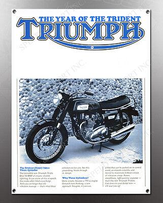 VINTAGE TRIUMPH TRIDENT MOTORCYCLE BANNER