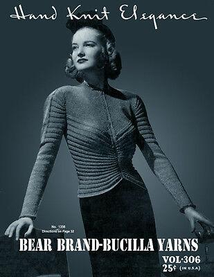 Bear Brand #306 c.1938 Lovely Vintage Knitting Patterns Women's Dresses Coats