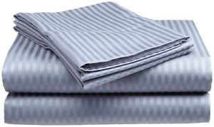 Full-Size-Light-Blue-400-Thread-Count-100-Cotton-Sateen-Dobby-Stripe-Sheet-Set