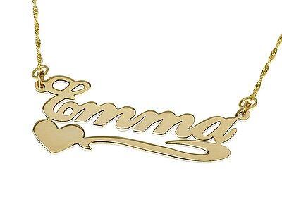 Collier avec Prénom plaqué or Pendentif avec nom + cœur