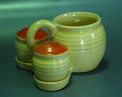 Kleine Art Deco Menage aus Keramik Salz Pfeffer & Senf / Marmelade Spritzdecor !