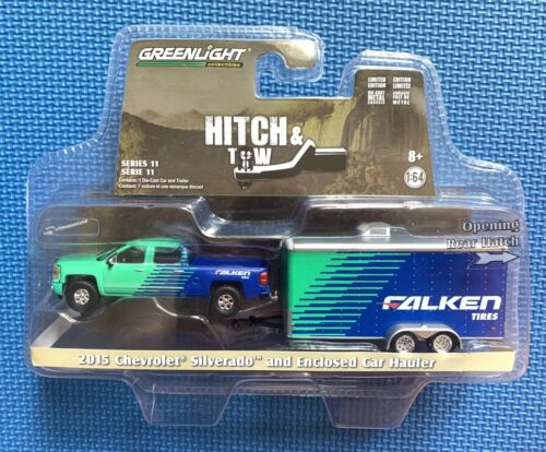 Greenlight Hitch /& Tow Series 11 2015 Chevrolet Silverado /& Enclosed Car Hauler