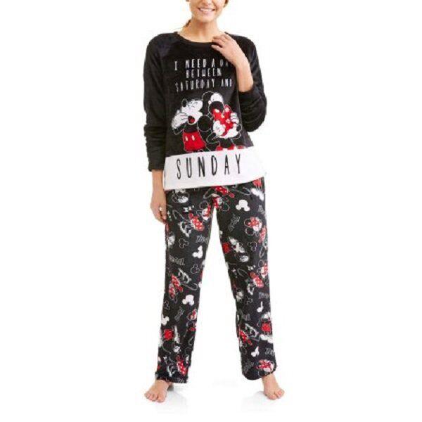 Disney 2pc Mickey and Minnie Mouse Plush PJs Womens Fleece Pajamas ...