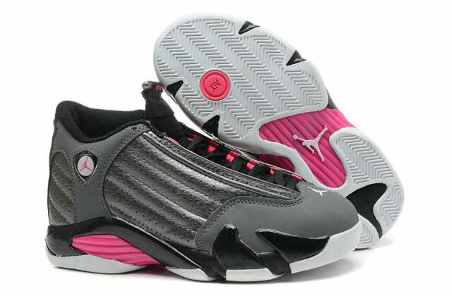 4029b0e2ba47d3 Nike Air Jordan 14 XIV Retro Low GG 6y Grey HYPER Pink Black White 6 ...