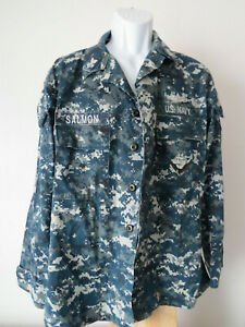 Navy-Military-Digital-Blue-Camouflage-USN-NWU-Shirt-Jacket-Named-Naval-Camo-L