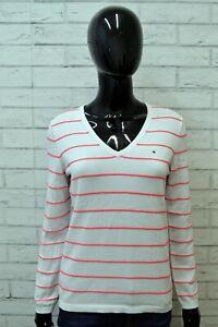 TOMMY-HILFIGER-Maglione-Bianco-Donna-Pullover-Taglia-M-Maglia-Cotone-Shirt-Woman