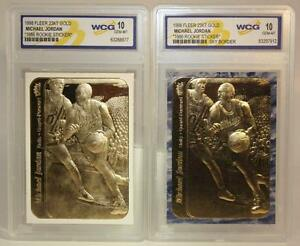 2-Card-Set-MICHAEL-JORDAN-1986-Fleer-ROOKIE-STICKER-23KT-Gold-Cards-GEM-MINT-10