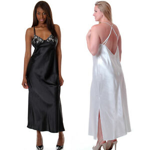 Plus-Size-Lingerie-Sizes-1X-2X-3X-Charmeuse-White-or-Black-Long-Gown-VX6056X