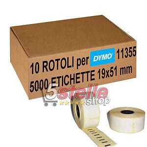 10-x-ROTOLI-ETICHETTE-ADESIVE-DYMO-11355-51x19-mm-STAMPANTE-LABELWRITER-400-450