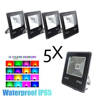 50W COB Outdoor LED Flood Light RGB IP65 Black Waterproof