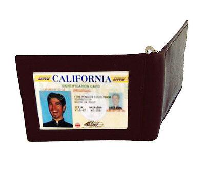Black MENS LEATHER MONEY CLIP Credit Card Wallet ID Badge Holder Gift