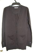 Long Black 100% Marino Wool V Neck Cardigan Marks & Spencer Age 9-10 Years NWOT