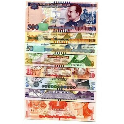 set 8 banknotes 1 2 5 10 20 50 100 500 Lempiras 2008-2014 UNC Honduras