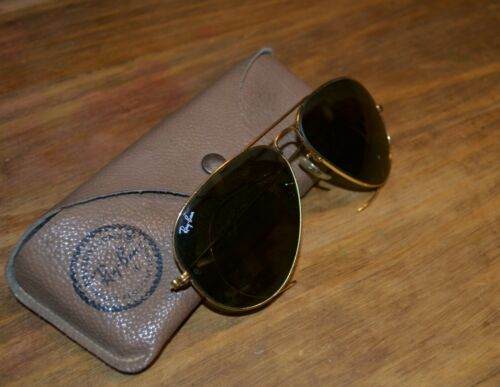 Ray Ban aviator genuine 1980's 58 14 with cable ar