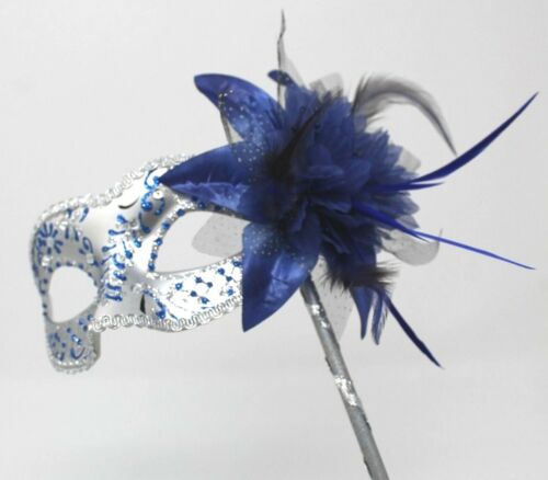 Blue /& Silver Venetian Masquerade Party Prom Carnival Eye Mask Hand Held Stick
