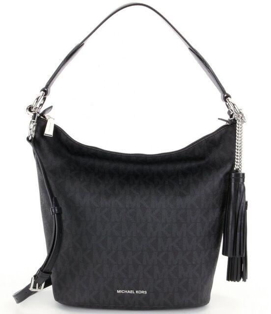 e436472e6cbc Michael Kors Elana Medium Signature PVC Convertible Shoulder Tote Bag (Black )